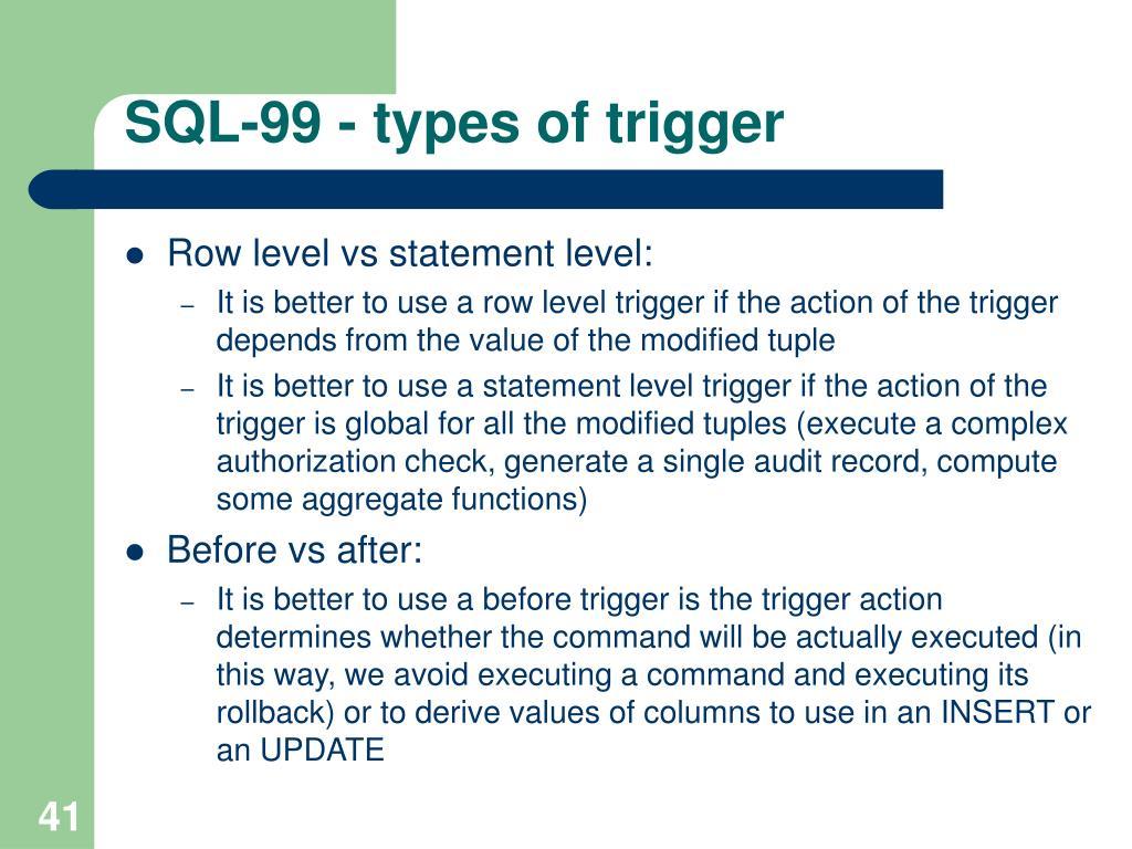 SQL-99 - types of trigger