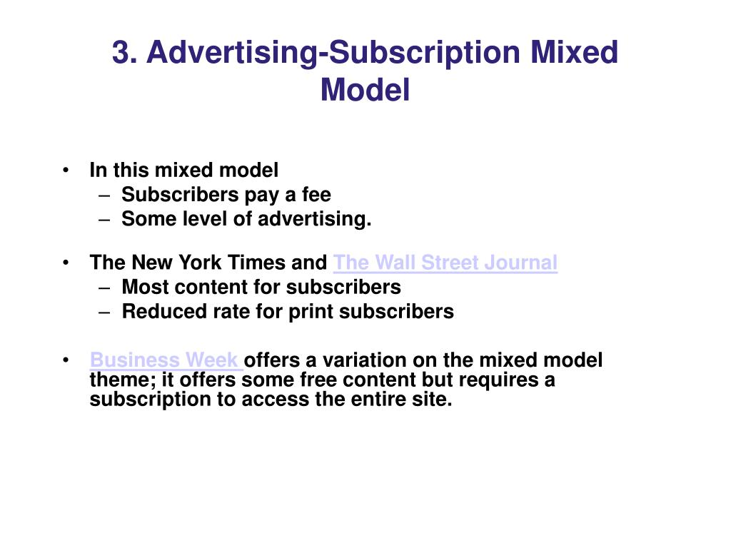3. Advertising-Subscription Mixed Model