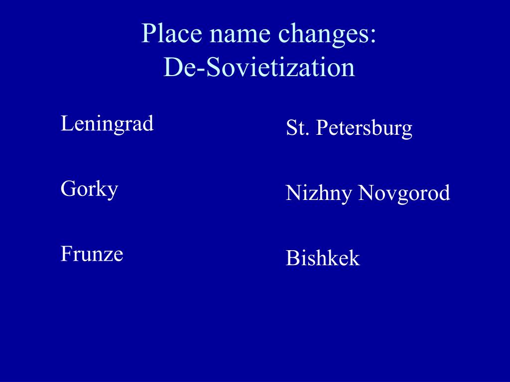 Place name changes: