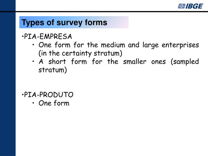 Types of survey forms