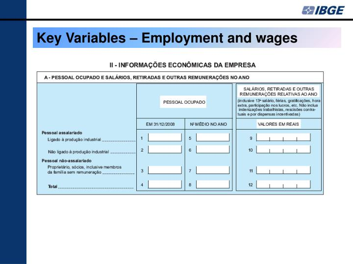 Key Variables – Employment and wages
