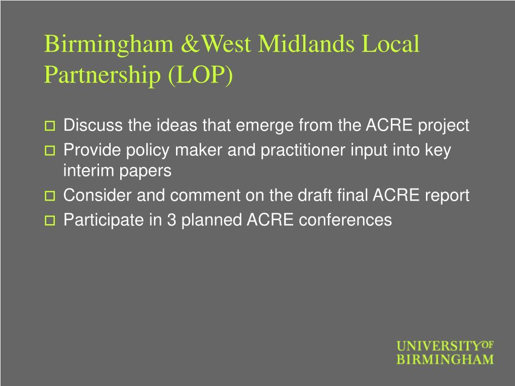 Birmingham &West Midlands Local Partnership (LOP)