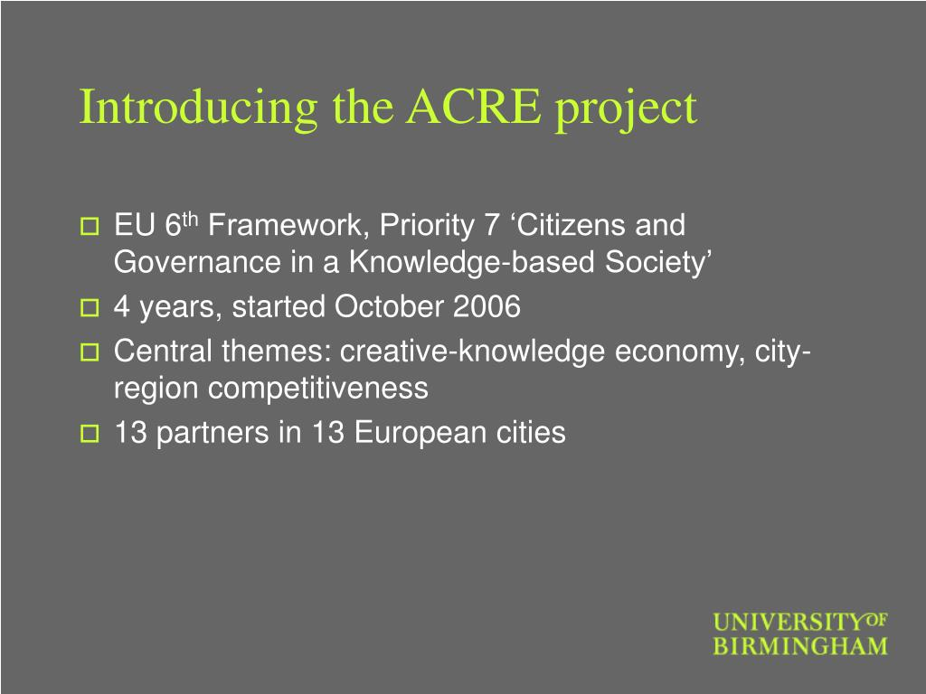 Introducing the ACRE project