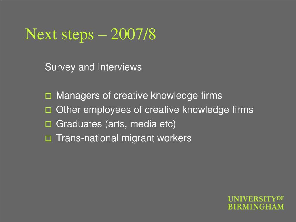 Next steps – 2007/8