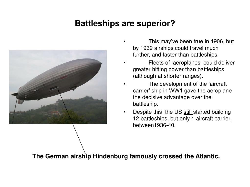 This may've been true in 1906, but by 1939 airships could travel much further, and faster than battleships.