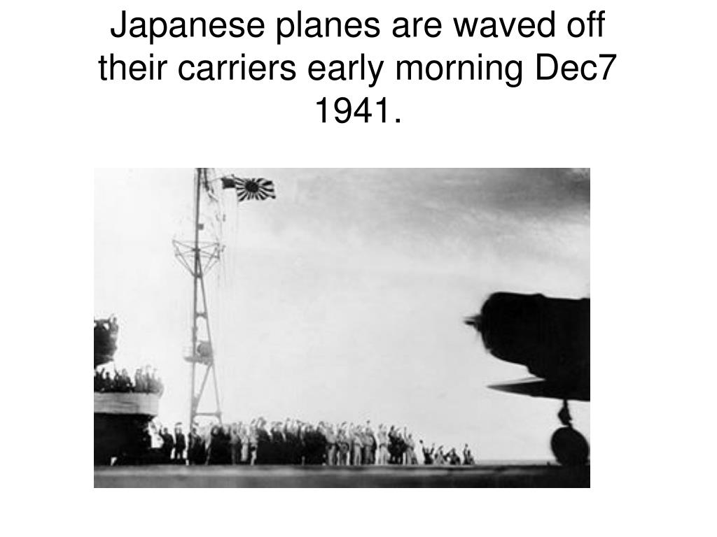 Japanese planes are waved off their carriers early morning Dec7 1941.