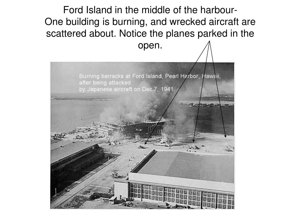 Ford Island in the middle of the harbour-