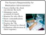 the nurse s responsibility for medication administration