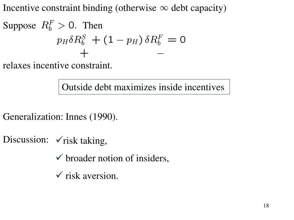 Incentive constraint binding (otherwise