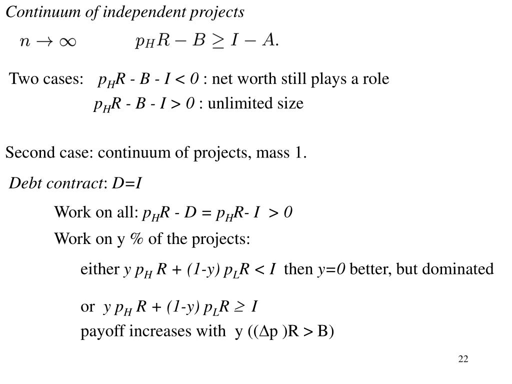 Continuum of independent projects