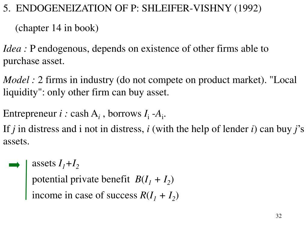 5.  ENDOGENEIZATION OF P: SHLEIFER-VISHNY (1992)