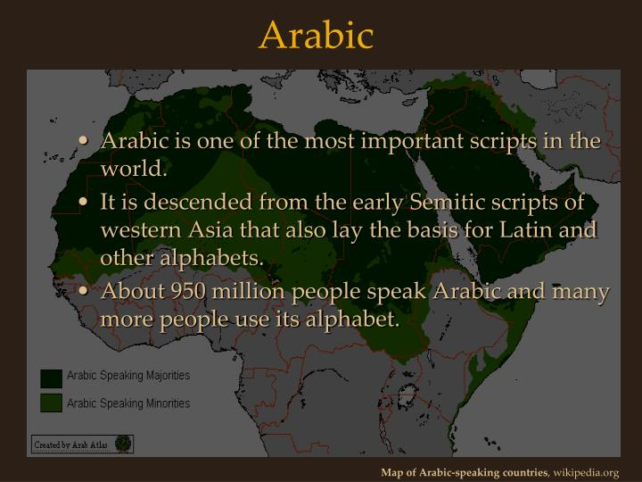 Arabic is one of the most important scripts in the world.