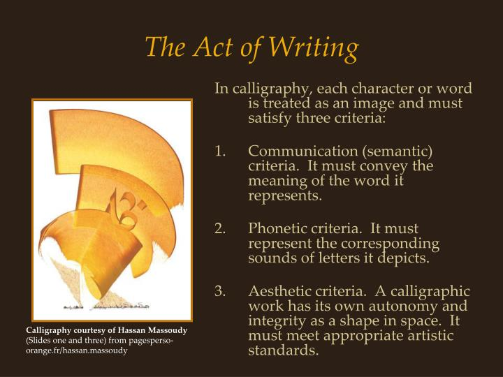 The act of writing1