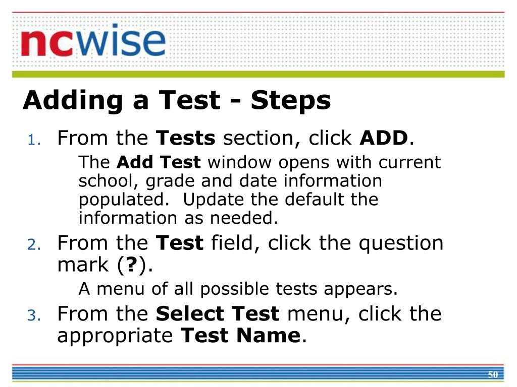 Adding a Test - Steps