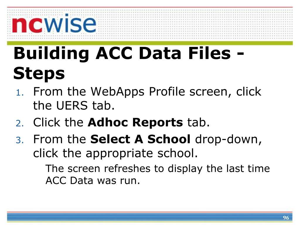 Building ACC Data Files - Steps