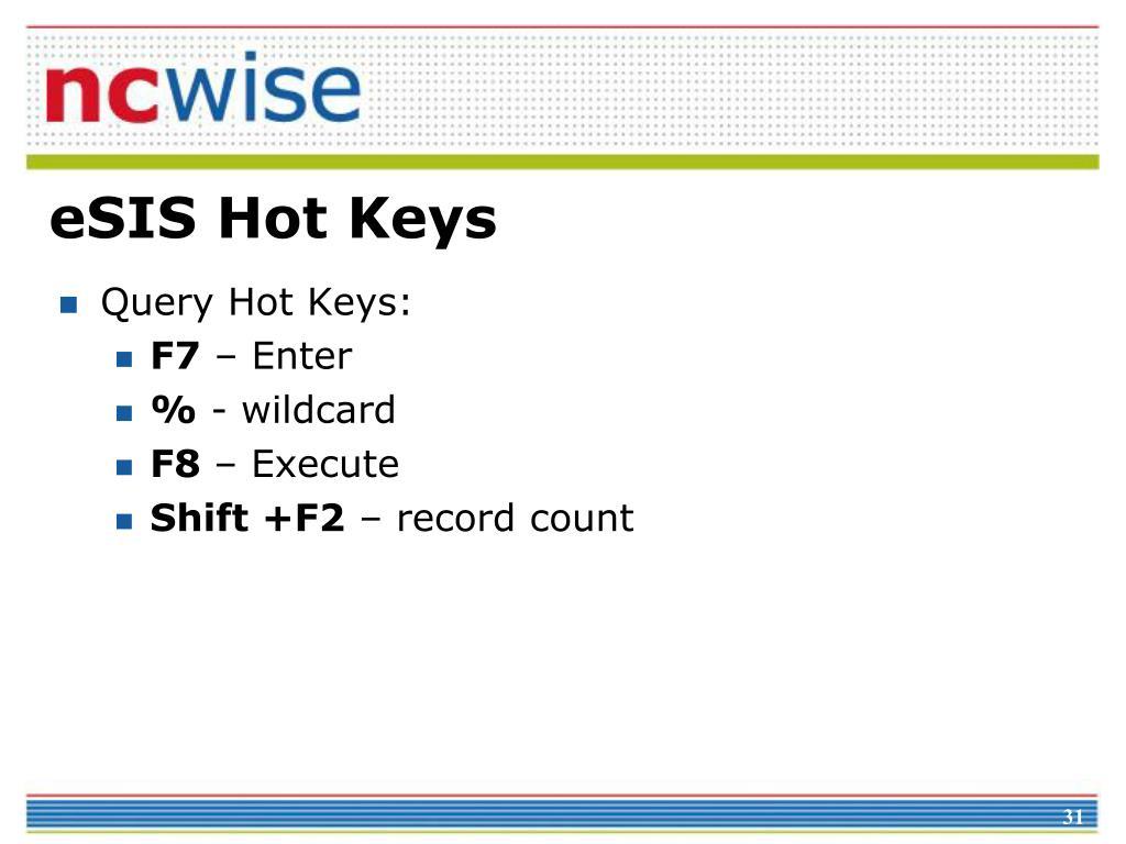 eSIS Hot Keys
