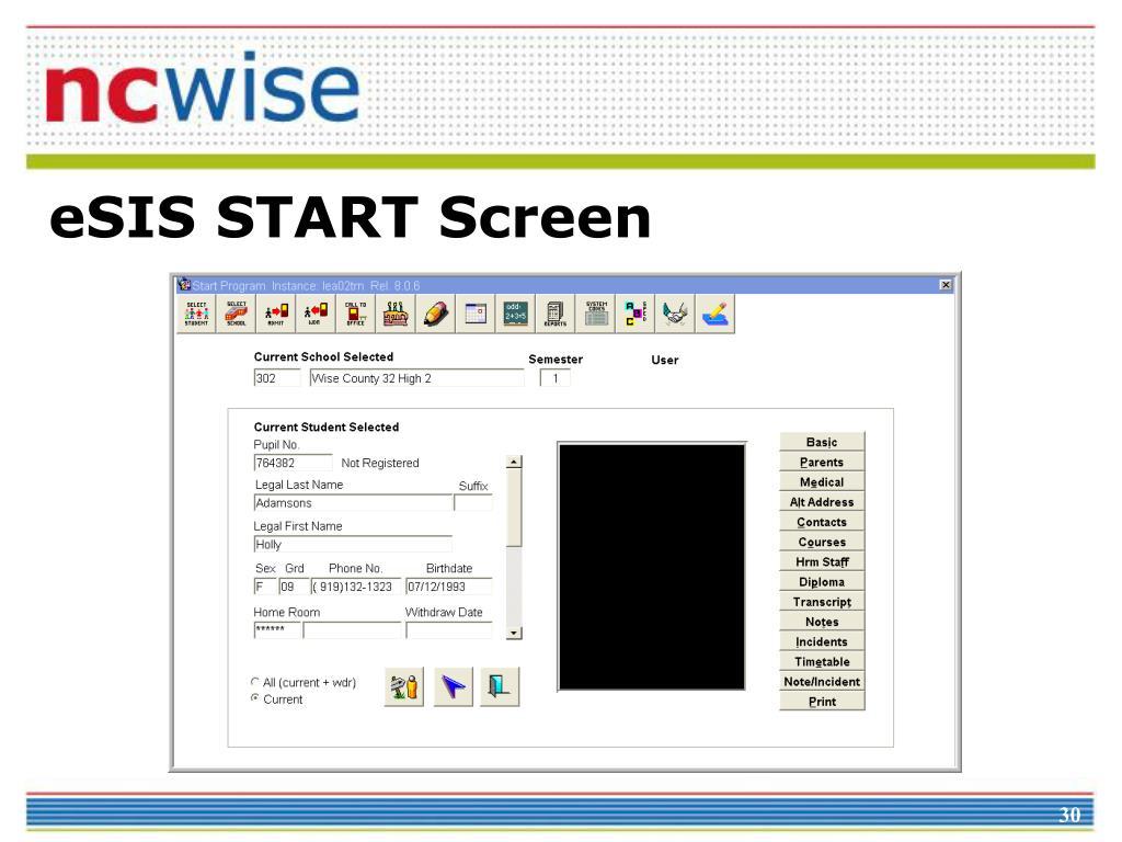 eSIS START Screen