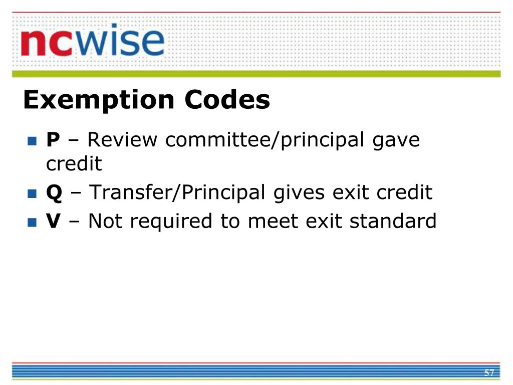 Exemption Codes