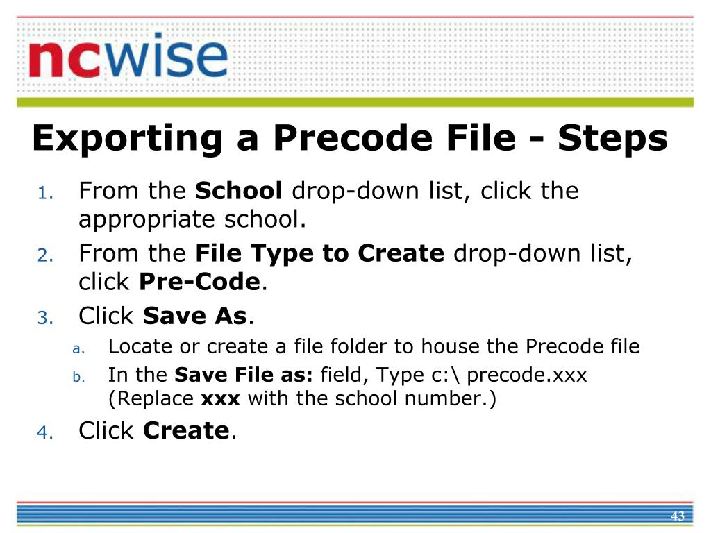 Exporting a Precode File - Steps