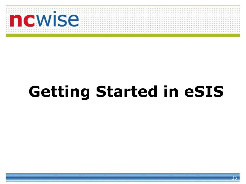 Getting Started in eSIS