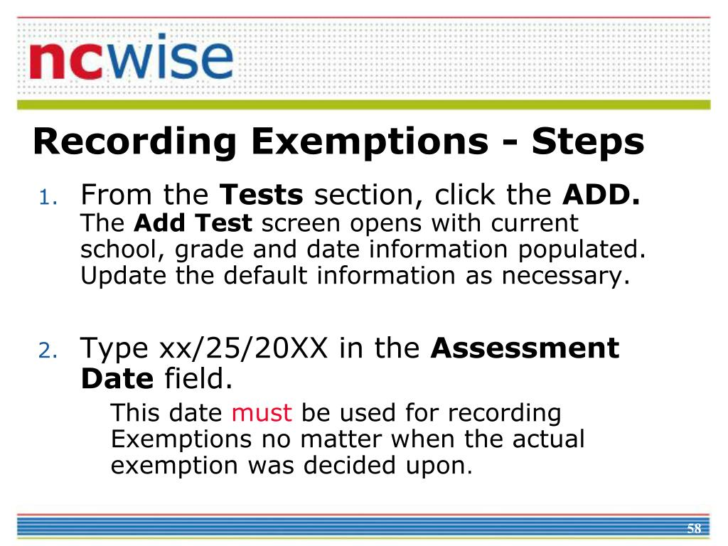 Recording Exemptions - Steps