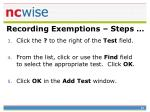 recording exemptions steps59