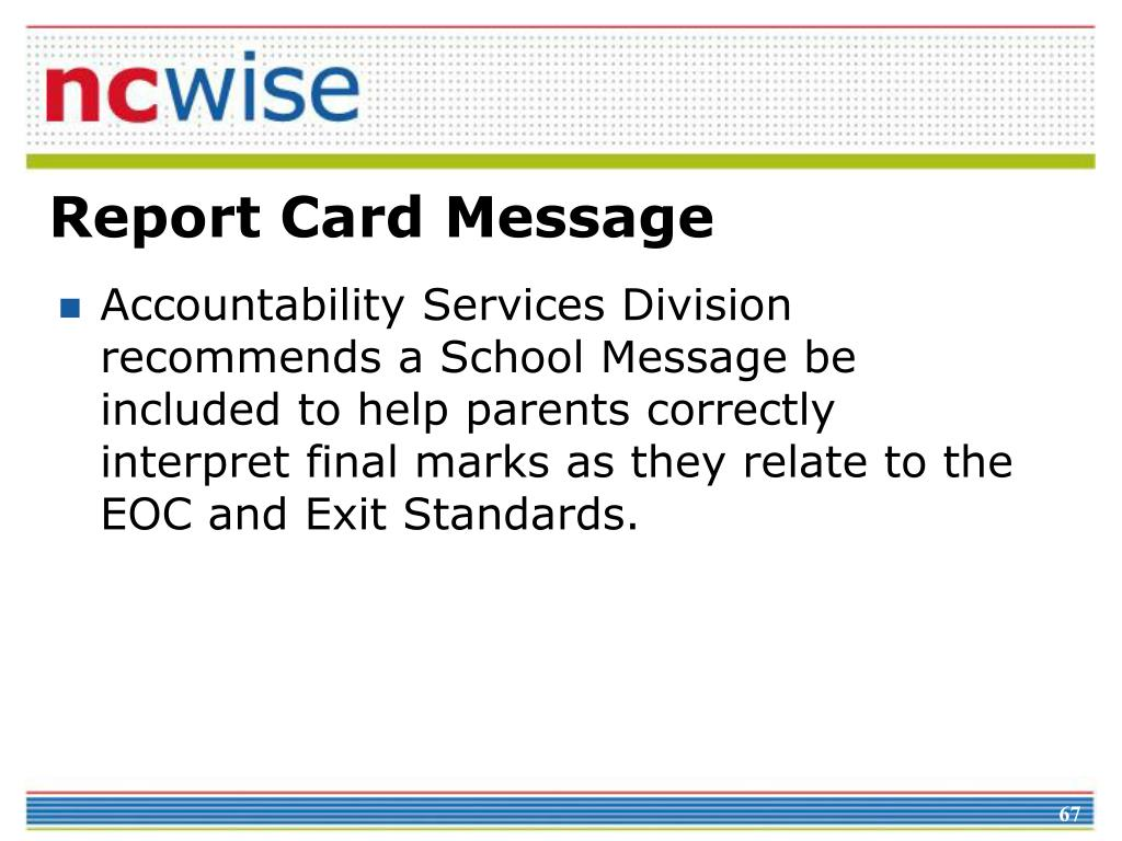 Report Card Message