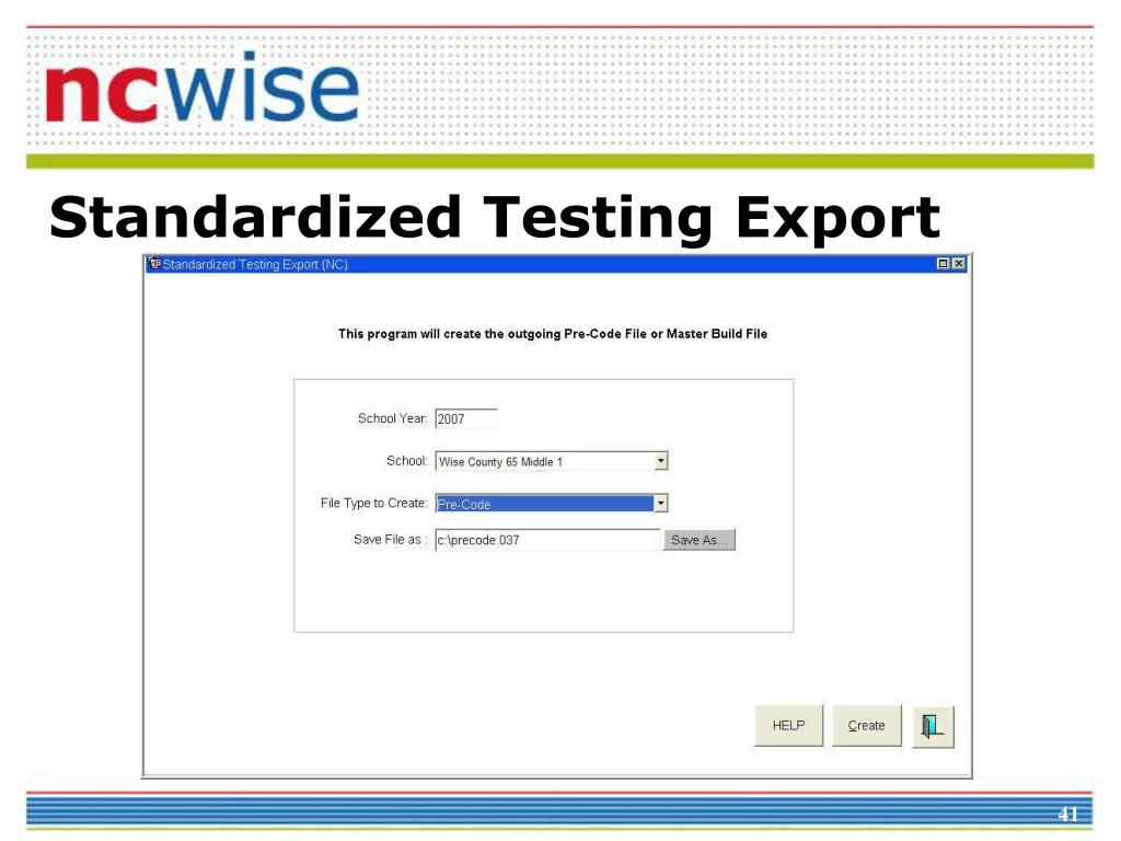 Standardized Testing Export