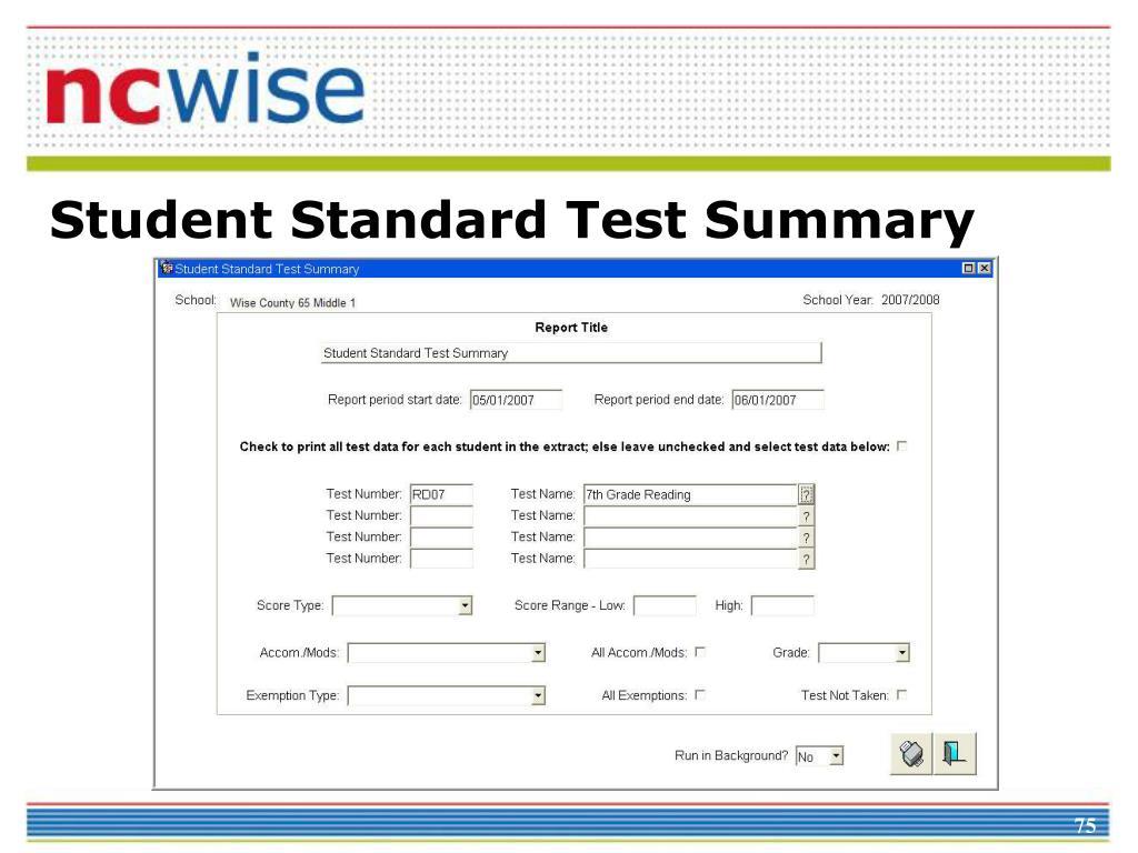 Student Standard Test Summary