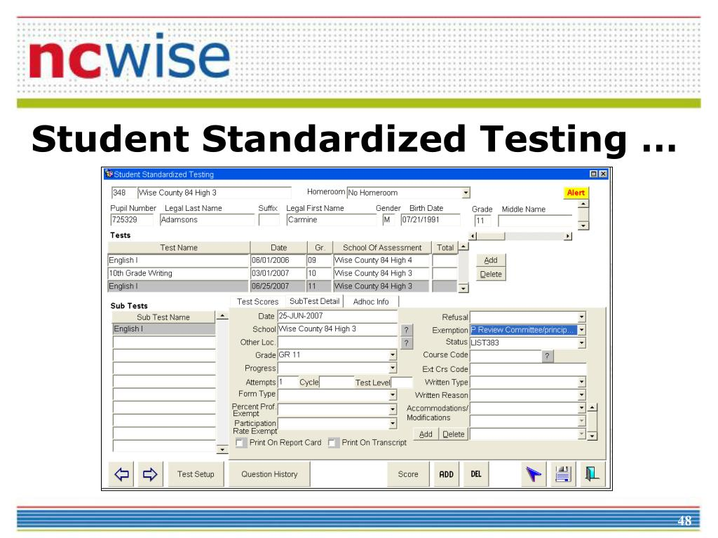 Student Standardized Testing …