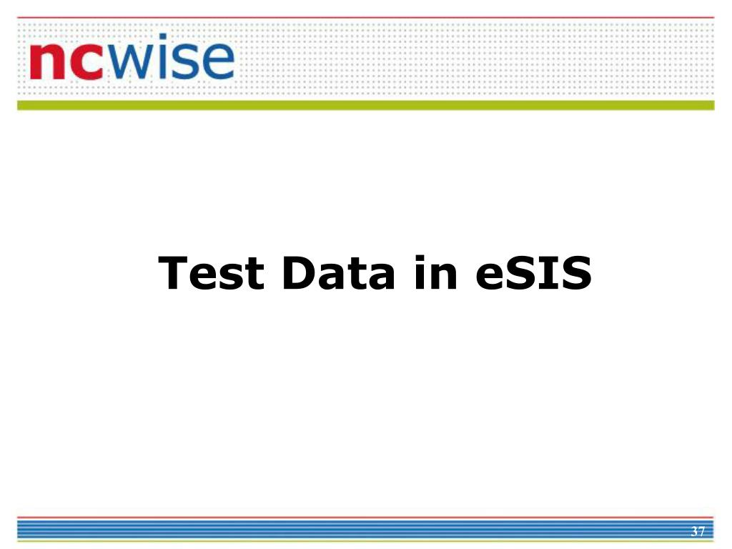 Test Data in eSIS