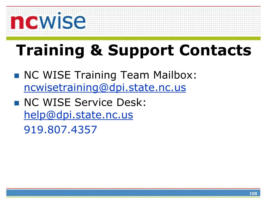 Training & Support Contacts