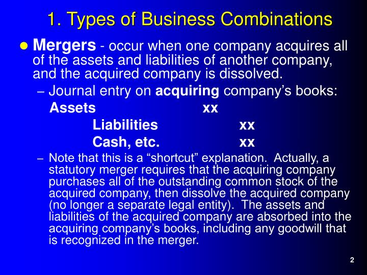 1 types of business combinations
