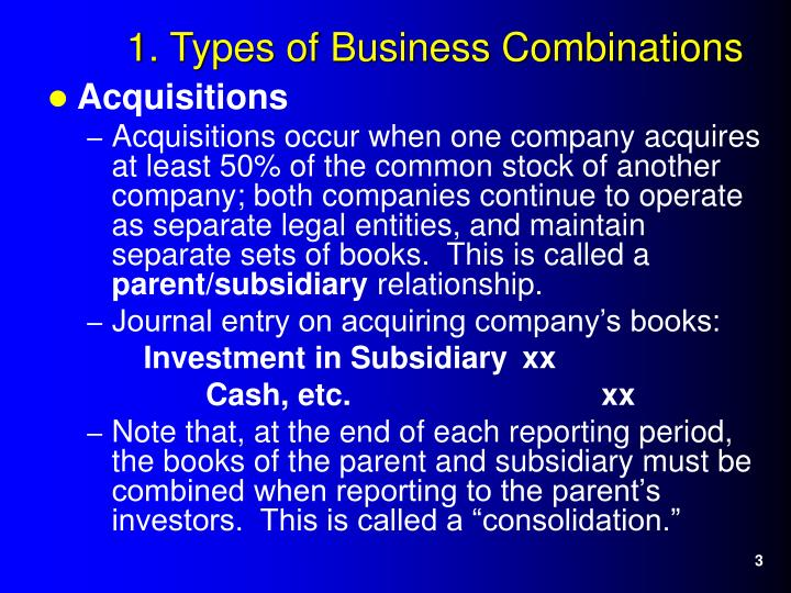 1 types of business combinations3