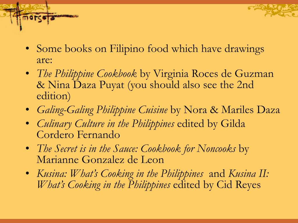 Some books on Filipino food which have drawings are:
