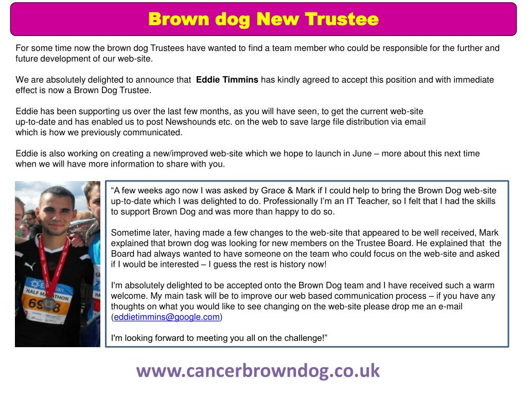 Brown dog New Trustee