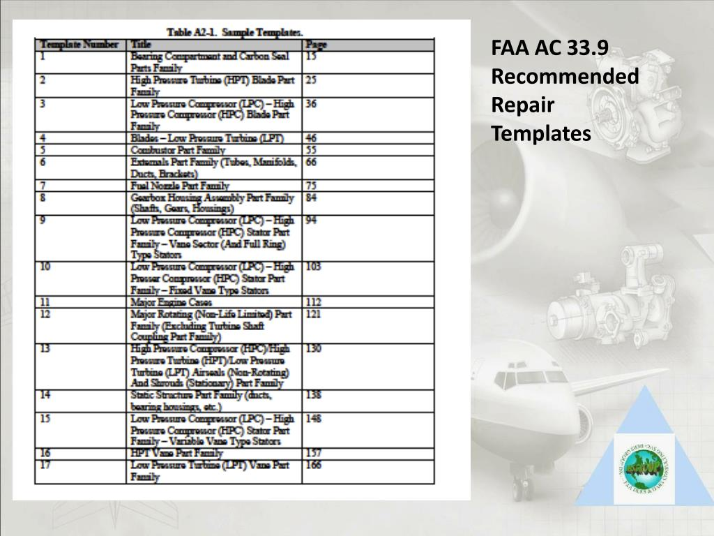 FAA AC 33.9 Recommended Repair