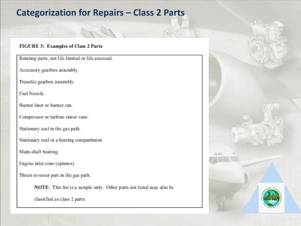 Categorization for Repairs – Class 2 Parts
