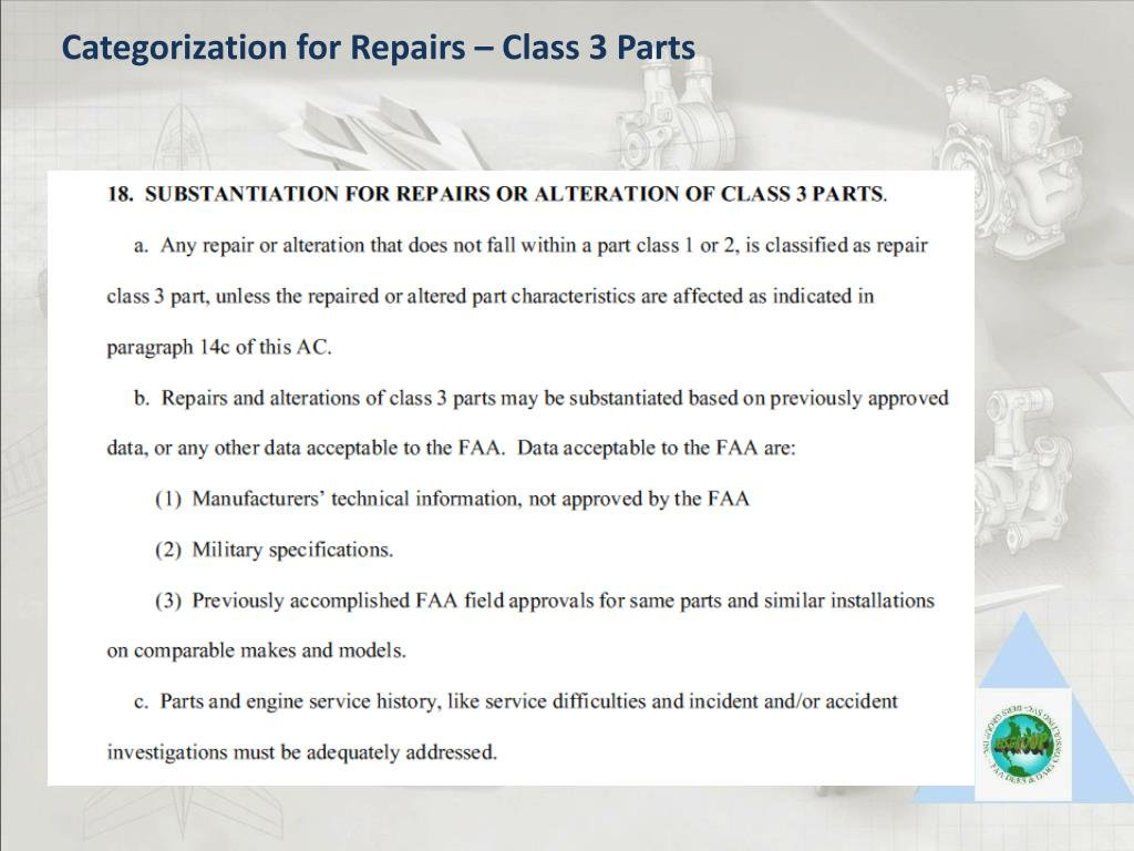 Categorization for Repairs – Class 3 Parts