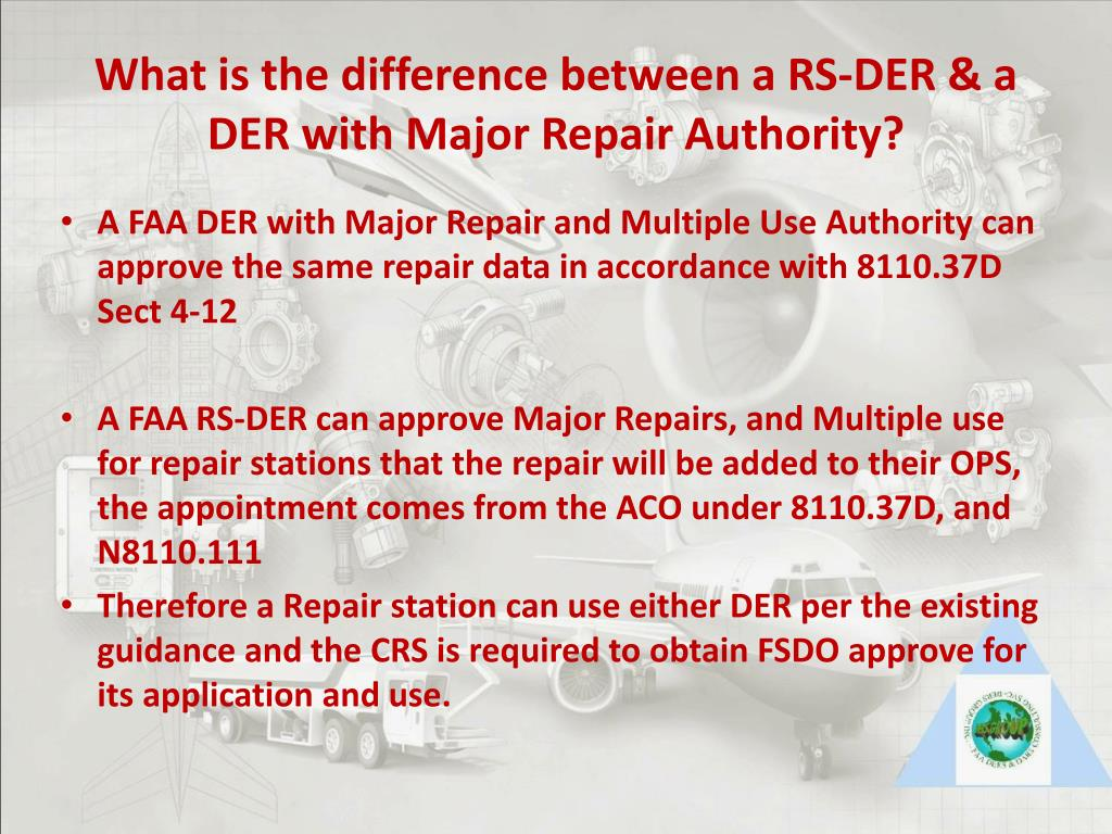 What is the difference between a RS-DER & a DER with Major Repair Authority?