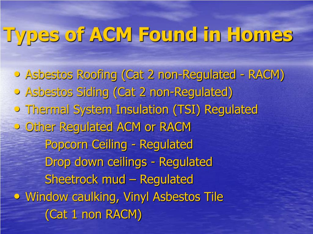 Types of ACM Found in Homes