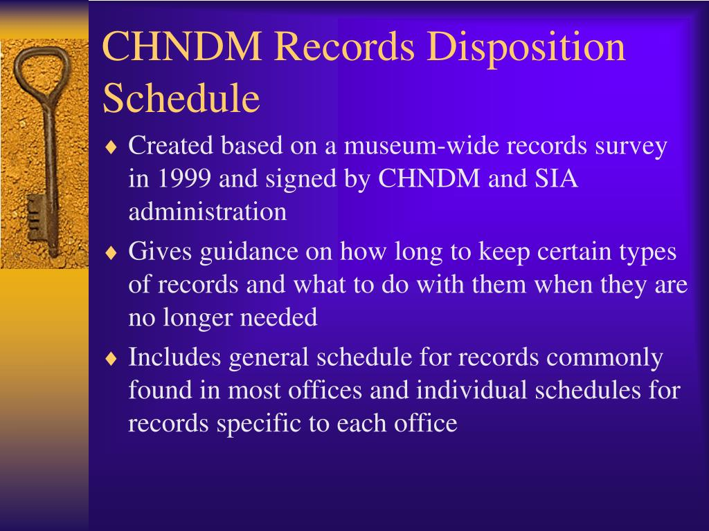 CHNDM Records Disposition Schedule