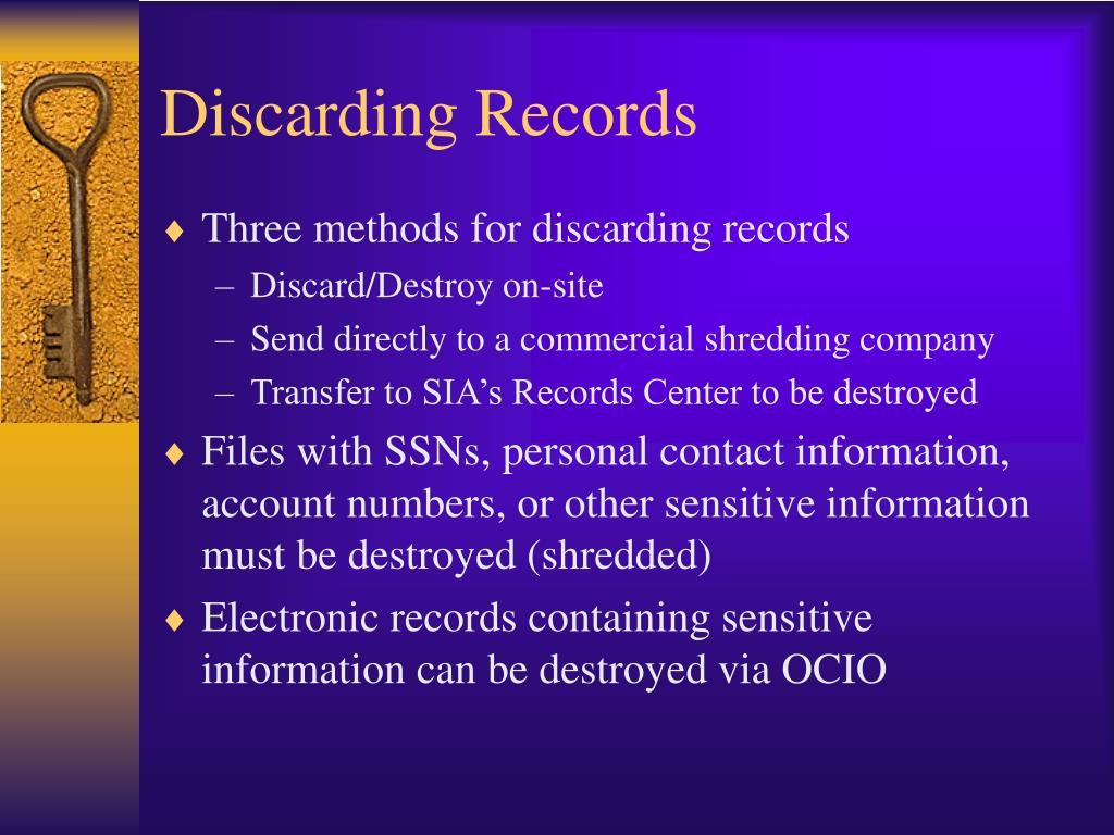 Discarding Records