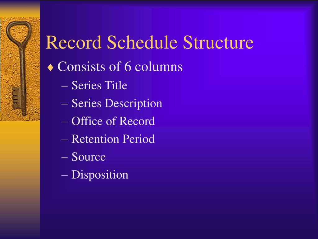 Record Schedule Structure