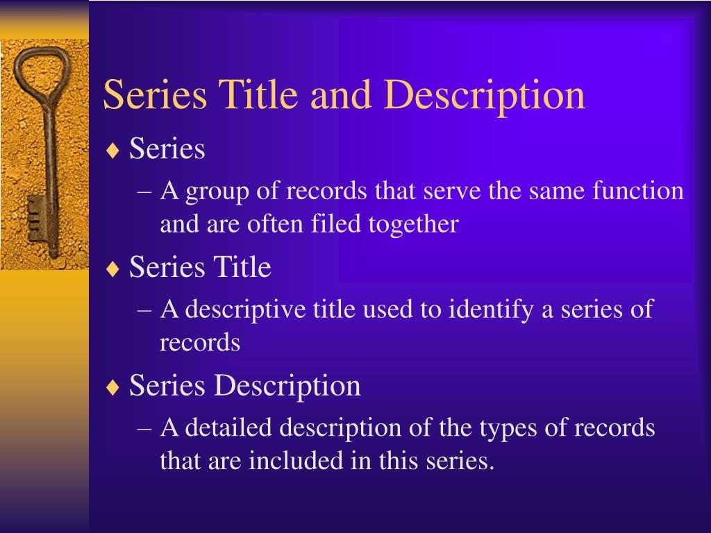 Series Title and Description