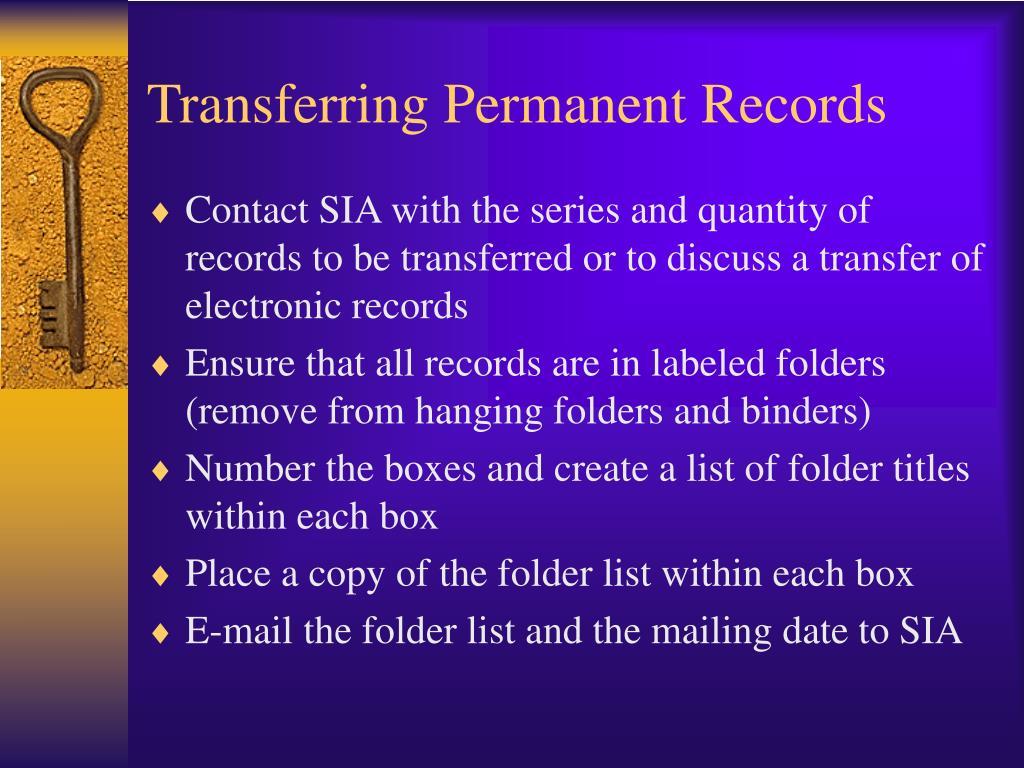Transferring Permanent Records