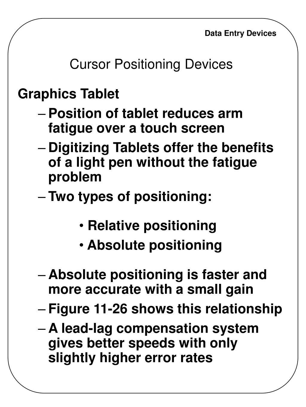 Cursor Positioning Devices
