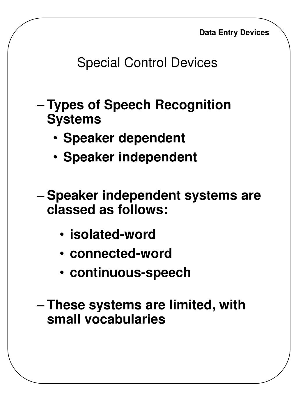 Special Control Devices