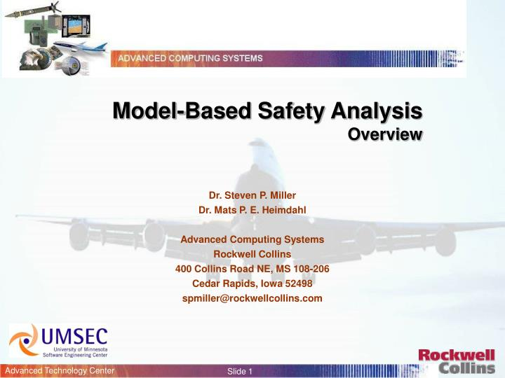 Model based safety analysis overview