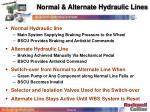 normal alternate hydraulic lines
